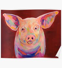 Colorful Pig on Red Background Painting Poster