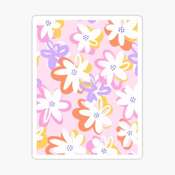 Happy Pop Floral Pattern - Pink, Orange and Lilac Sticker