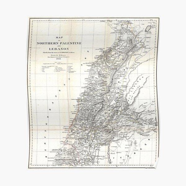 Carte vintage du Liban (1856) Poster