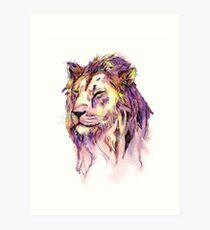 Watercolor and Ink Lion Art Print