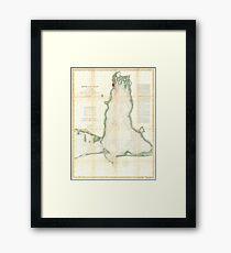 Vintage Map of Mobile Bay Alabama (1856) Framed Print