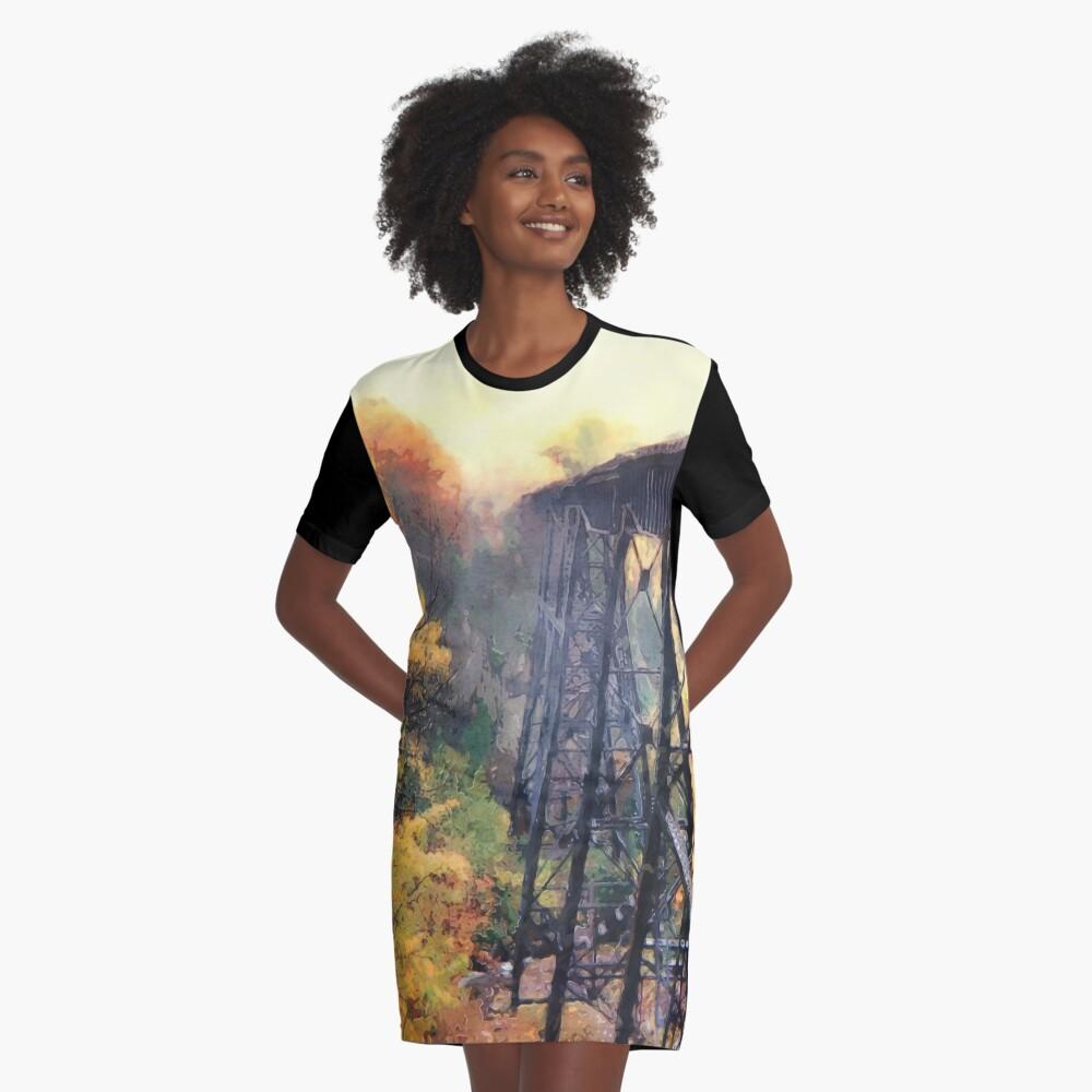 Upper Peninsula Train Trestle Graphic T-Shirt Dress