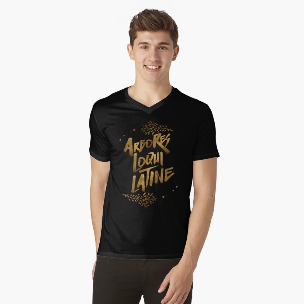 Die Bäume sprechen Latein T-Shirt mit V-Ausschnitt
