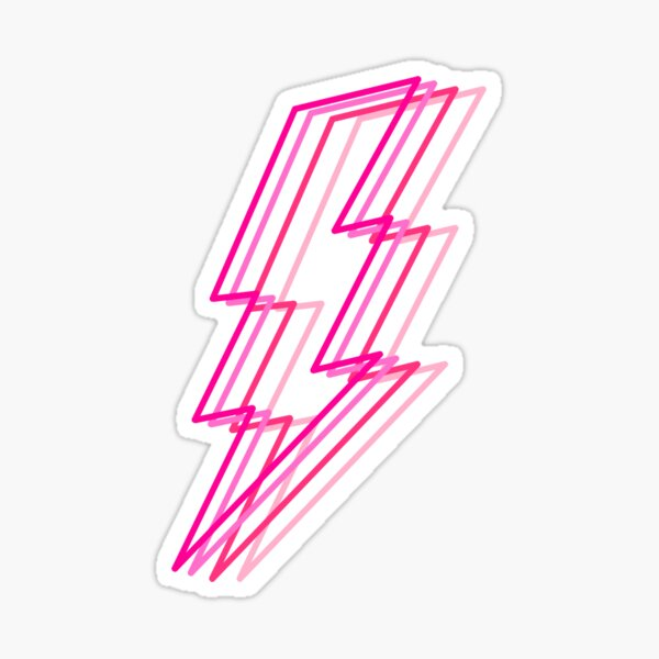 pink layered lighting bolt Sticker
