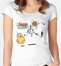 Adventure Time Finn and Jake Robot Women's Fitted Scoop T-Shirt