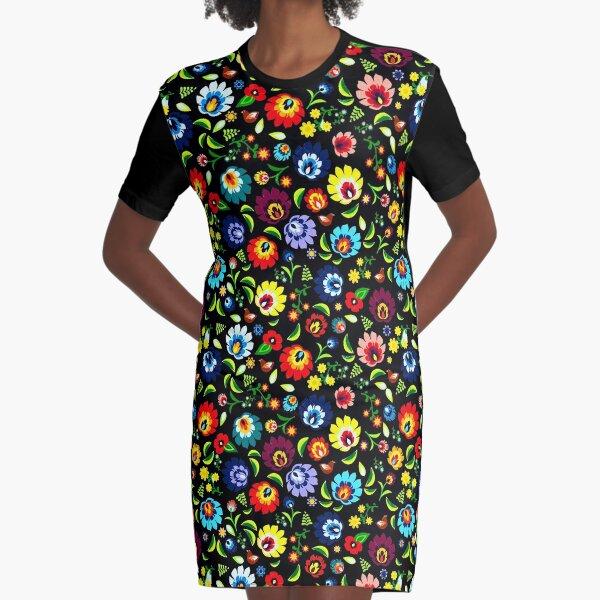 Hungarian Folk Pattern Graphic T-Shirt Dress