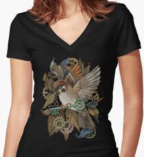 Clockwork Sparrow Women's Fitted V-Neck T-Shirt