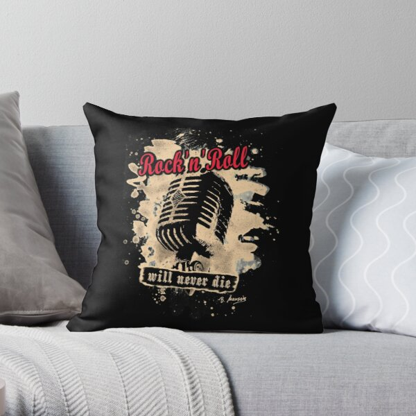 Rock-n-Roll Microphone - red Throw Pillow