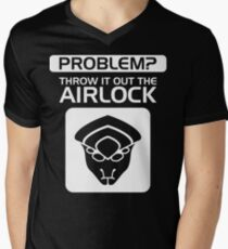 Throw it Out the Airlock in White Mens V-Neck T-Shirt