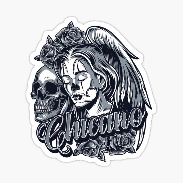 Skull Hard, Skull, Grafis, Chicano, Design, Art, Illustration Sticker