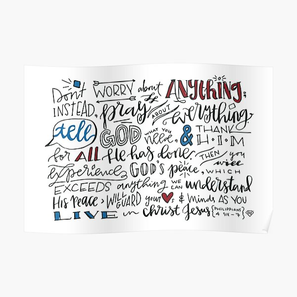 Philippians 4:6-7 NLT : Design 3 Poster