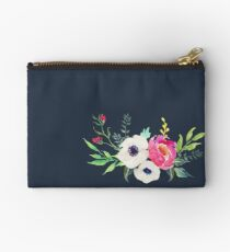 Anemone Peony Watercolor Bouquet Studio Pouch