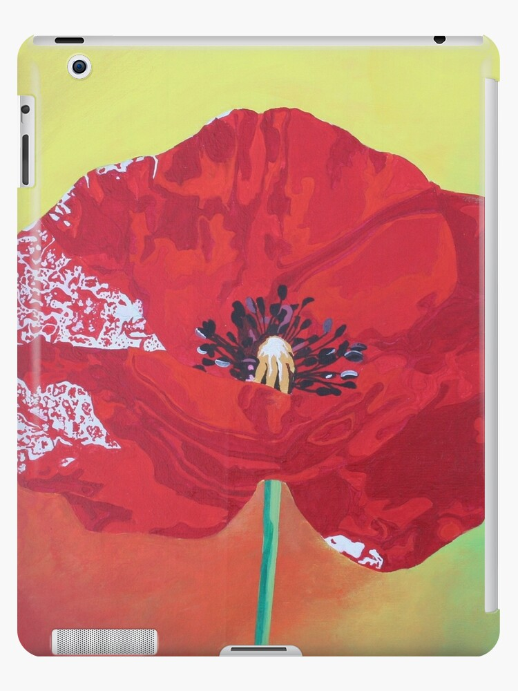 Single Stem Poppy On Red Green And Orange Background by taiche