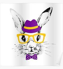Hipster rabbit Poster