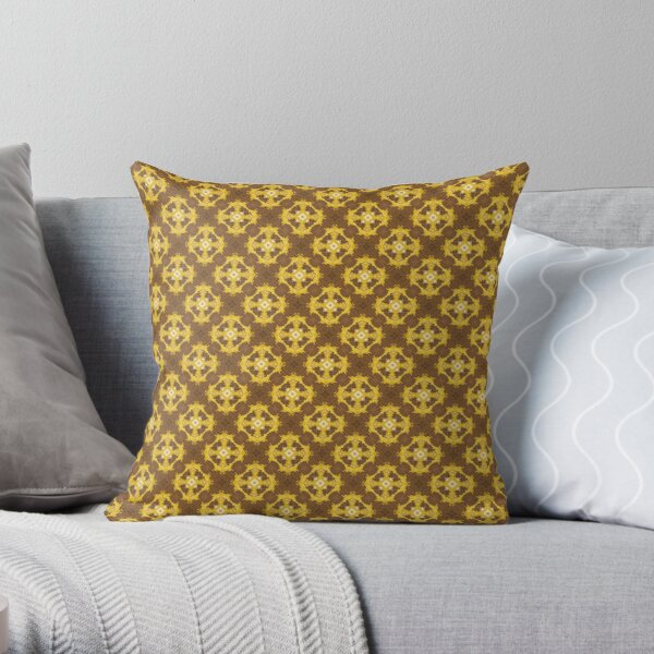 Kaleidoscope Art:  Hand Painted Modern Abstract Pattern in Yellow, Gold and Brown Throw Pillow