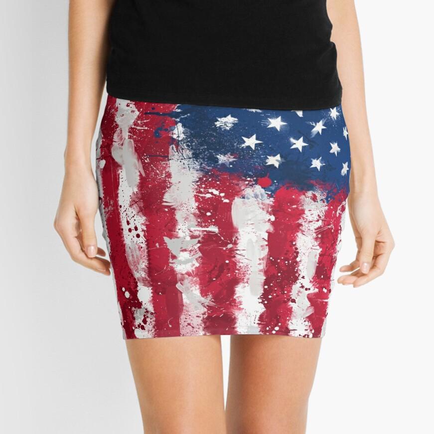 American Flag - Grunge Mini Skirt
