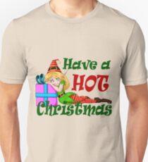 Elf Girl Leaning On Present For Christmas T-Shirt