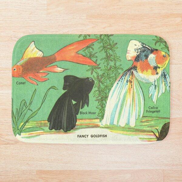Fancy Goldfish - Vintage Retro Aquarium Illustration Bath Mat