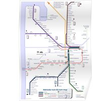 Adelaide train and tram map Poster