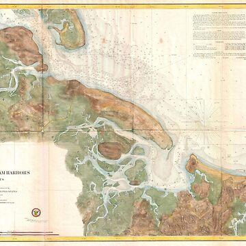 Mapa vintage de Ipswich y el puerto de Annisquam (1857) de BravuraMedia