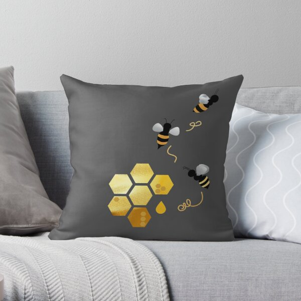 Save the bees, protect the bees, cute honey bumble be kind to bees. Caroline Laursen original Throw Pillow