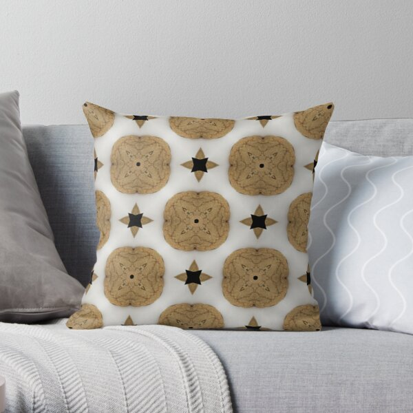 Kaleidoscope Art: Chocolate Chip Cookie Pattern Throw Pillow