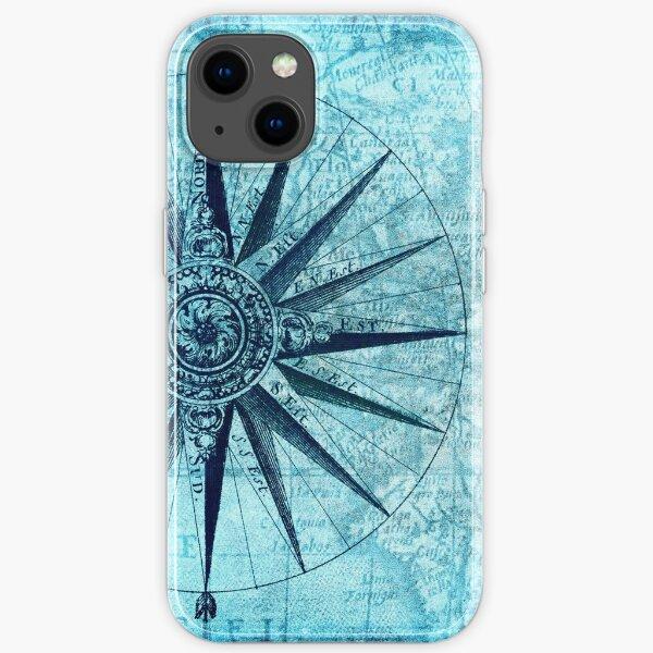 Brújula azul Funda blanda para iPhone