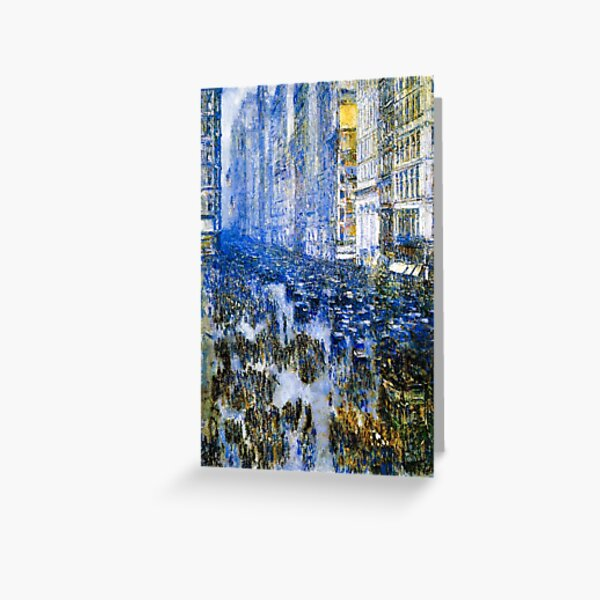 Fifth Avenue In The Winter 1919 - Hassam Enhanced Artwork Reproduction Greeting Card
