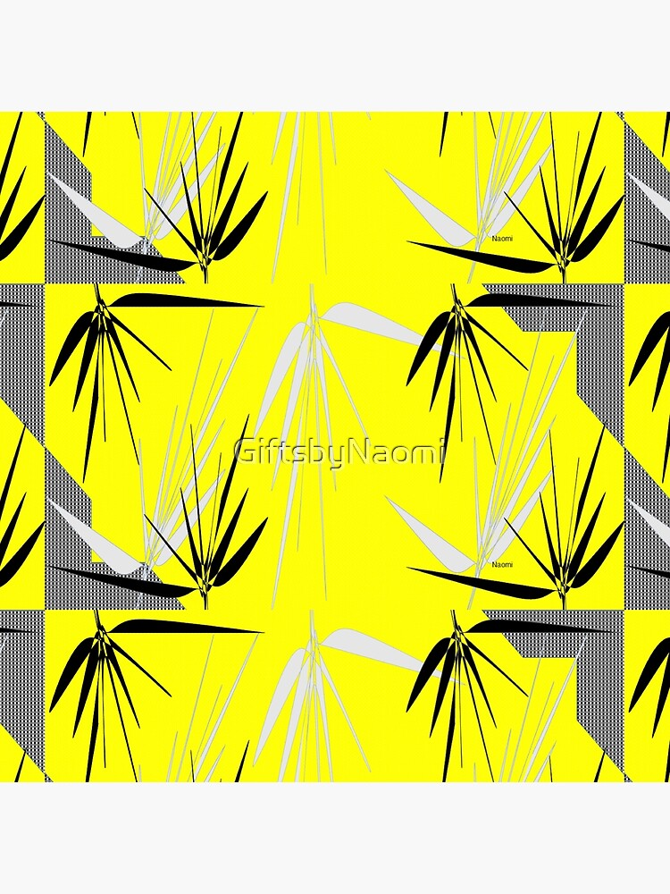 Yellow Gray Black  I with Leaves by GiftsbyNaomi