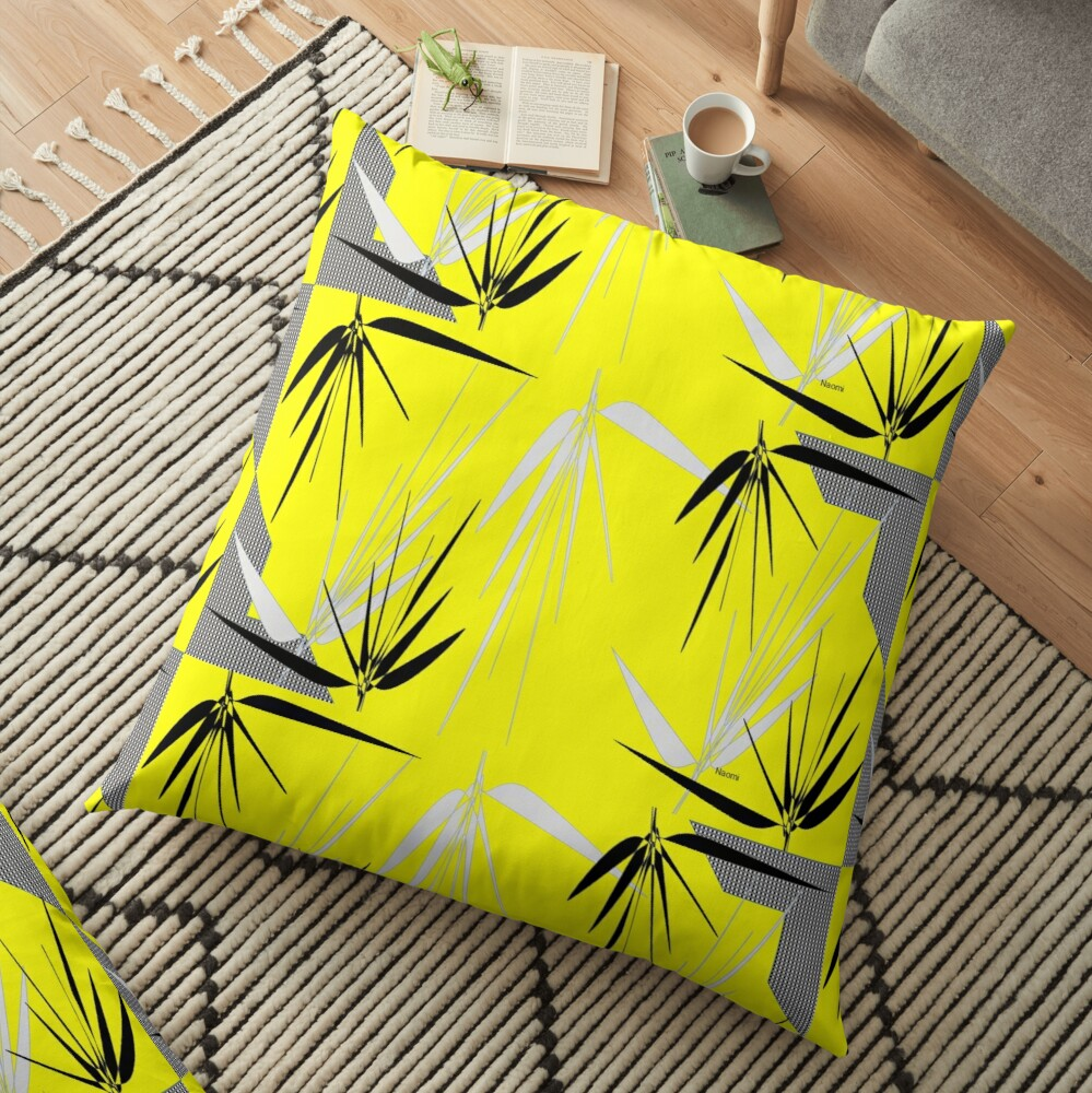 Yellow Gray Black  I with Leaves Floor Pillow