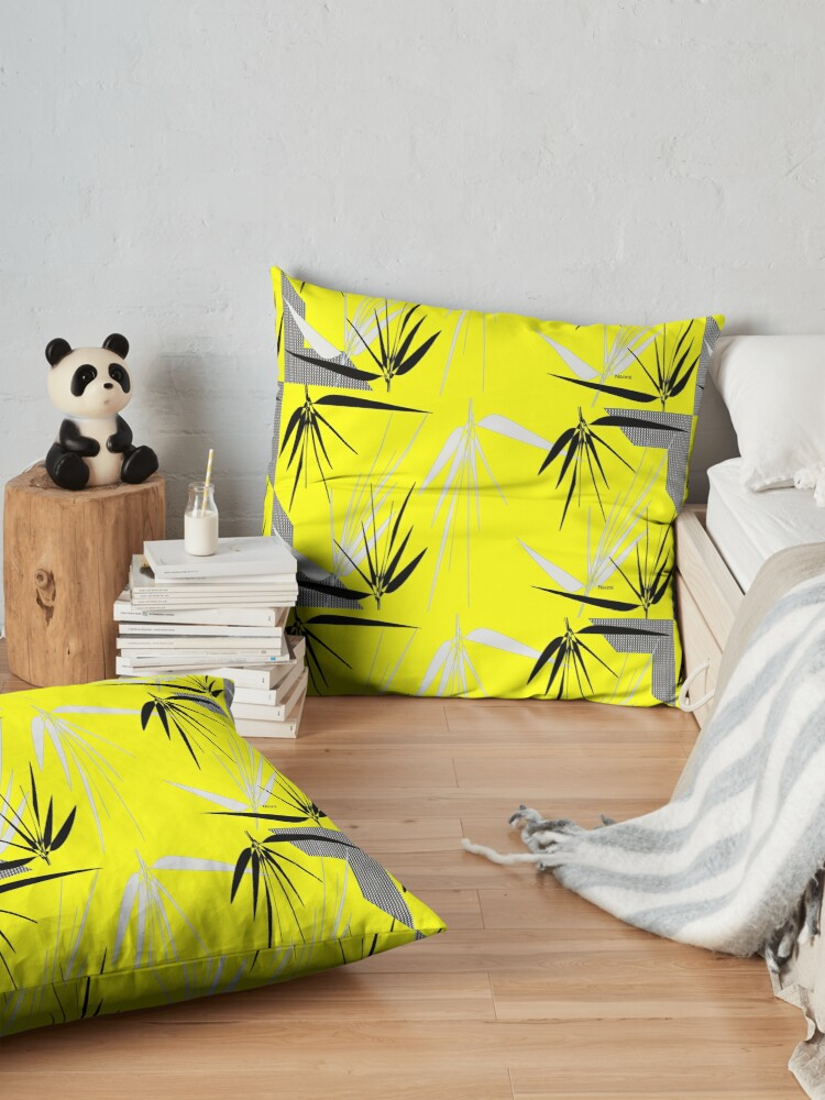 Alternate view of Yellow Gray Black  I with Leaves Floor Pillow