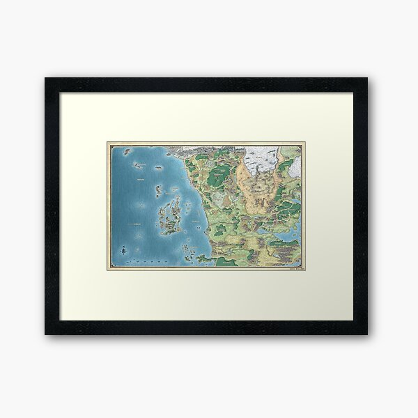Map of the sword coast Framed Art Print