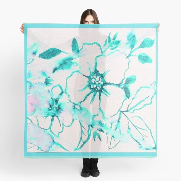 Bold Splashy Turquoise Floral Scarf
