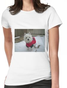 Winnie in the Snow Womens Fitted T-Shirt