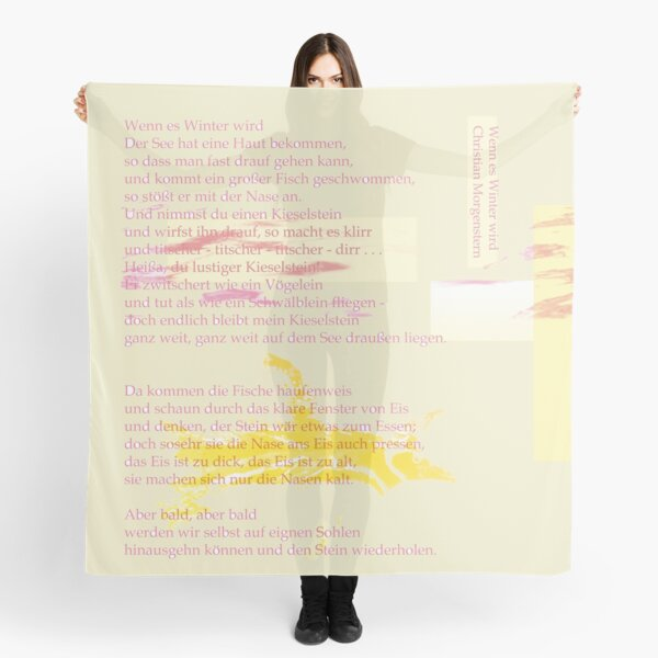 When winter comes - children's poem by Christian Morgenstern x Swimming Penguin x Font Play - Nursery Rhyme German Literature Scarf