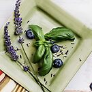 Basil Still Life with Green Plate and Lavender by Rebecca Cozart