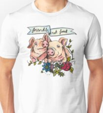 'Friends, not Food' Pig Veggie Vegan Illustration Unisex T-Shirt