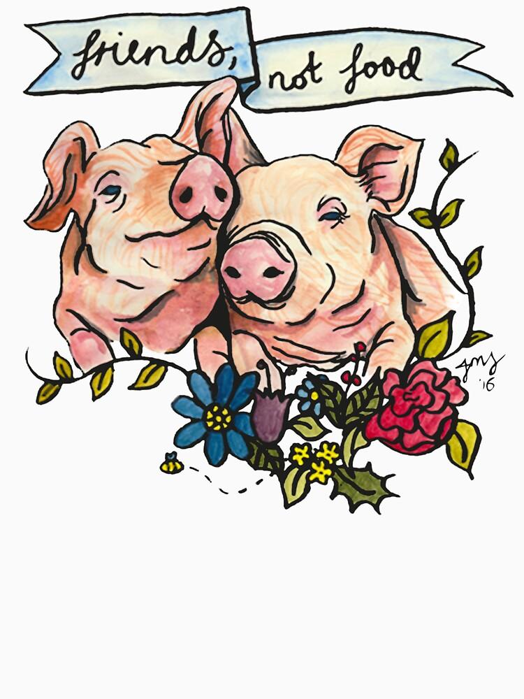 'Friends, not Food' Pig Veggie Vegan Illustration by jmsillustration