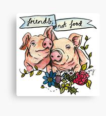 'Friends, not Food' Pig Veggie Vegan Illustration Canvas Print
