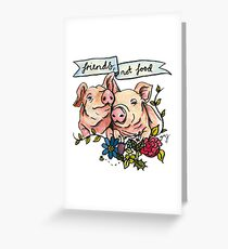 'Friends, not Food' Pig Veggie Vegan Illustration Greeting Card