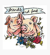 'Friends, not Food' Pig Veggie Vegan Illustration Photographic Print