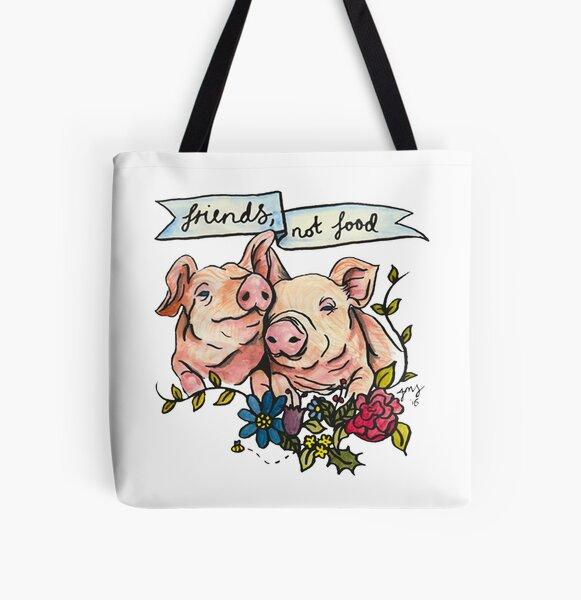 'Friends, not Food' Pig Veggie Vegan Illustration All Over Print Tote Bag