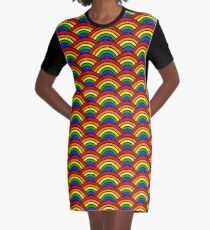 Rainbow Scallop Graphic T-Shirt Dress