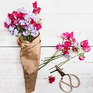 Still Life Sweet Peas with Scissors by Rebecca Cozart