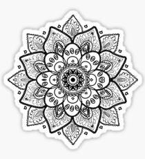 Black On White Floral Mandala Sticker