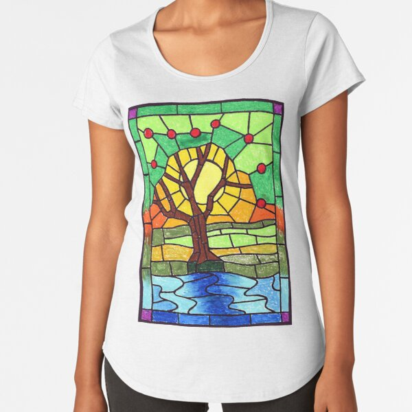 Stained glass design - tree Premium Scoop T-Shirt