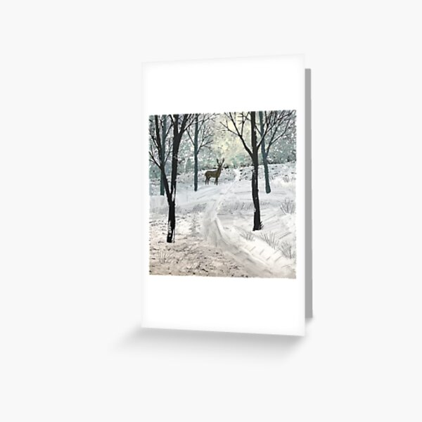 Stag In The Snow Greeting Card