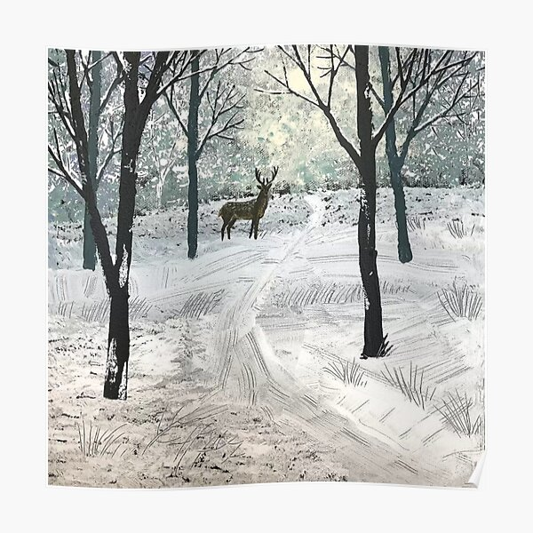 Stag In The Snow Poster