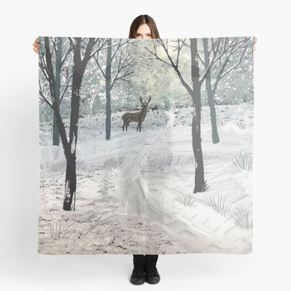 Stag In The Snow Scarf