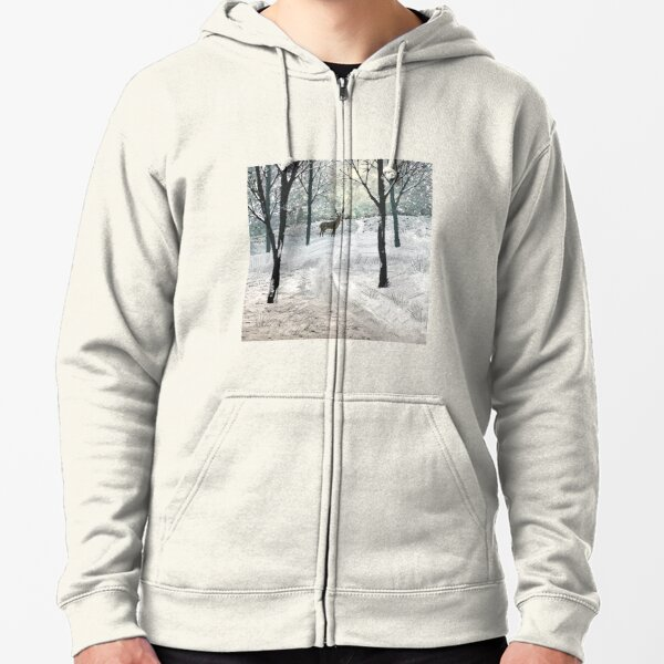 Stag In The Snow Zipped Hoodie